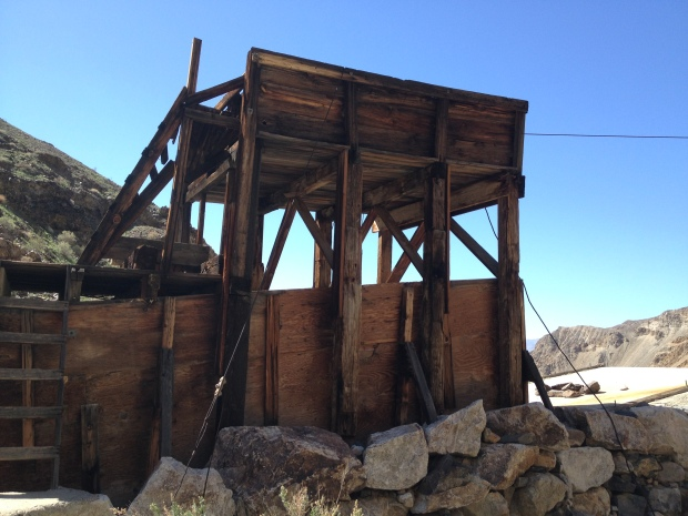 Old mining structure at the mouth of Suprise Canyon en route to Panamint City.